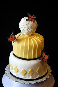 Stacked butterfly cake