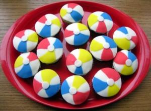 beach ball cupcake